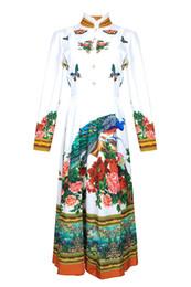 Peonia s online-Abito donna europea ed americana 2019 estate nuovo stile Collo a manica lunga Abito alla moda in peonia di pavone