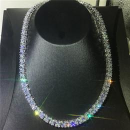 Canada Collier de luxe de tennis Full Diamond Diamants Cz Cz White Gold Filled Collier de mariage pour femmes hommes bijoux cadeau Offre