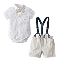 39e58348d86c7 2019summer toddler baby boys clothes sets dinosaur printed white  rompers+overall shorts pure cotton 2pcs