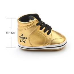 Stivali di stile glitter online-Neonato High Top Baby Autunno Scarpe sportive Glitter Style Infant Toddler PU Baby Boot Prewalkers Sneaker per 0-18M