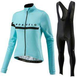 Ciclo de manga larga jersey establece mujeres online-2019 Morvelo mujer manga larga ciclismo jersey bicicleta ropa camisa babero conjunto ciclismo ropa mtb ropa maillot ciclismo mujer