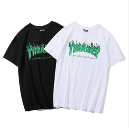e5bbc882 2019 Summer America Street Fashion Brand THRASHER T-shirt New Green Ghost  Flame Printing Shirt Men Women Cotton Short Sleeve T-shirt