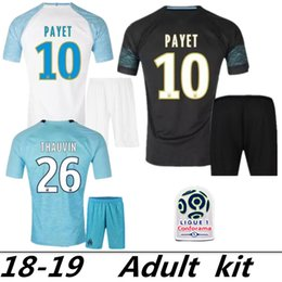 774c5c430 2018 2019 FC Marseille Jersey Soccer Ligue 1 Maillot de foot OM 26 THAUVIN  19 Gustavo 10 PAYET 28 GERMAIN Football Shirt Kits purple football jersey  28 on ...