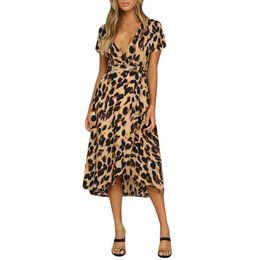 vestidos de leopardo Desconto Frete grátis Womens Leopard Print Boho Maxi Vestido de Senhoras Holiday Long Short Sleeve Dress venda quente