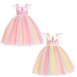 2019 hilo de arcoiris Vestido de niña bebé Disfraces para niños Arcos Disfraces Unicornios Vestidos de arco iris Flor Malla Hilado Etapa Rendimiento Vestido de cremallera 45