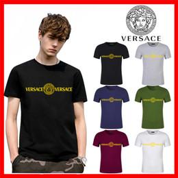 Wholesale Hot Luxus Europa Paris Stickerei Contrastversace medusa T Shirts mit V Mode Männer Designer T Shirts der beiläufigen Männer Kleidung Cotton Tee