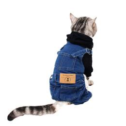 Jeans per piccoli cani online-Abbigliamento per gatti di piccola taglia Jeans Costume Abbigliamento per gattino Vestito per cani Abbigliamento per gatti katten kleding chien vetement