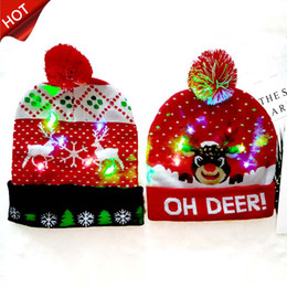 santa sweater Promo Codes - 2020 HOT 10 Designs LED Christmas Hats Beanie Sweater Christmas Santa Hat Light Up Knitted Hat for Kid Adult For Christmas gift