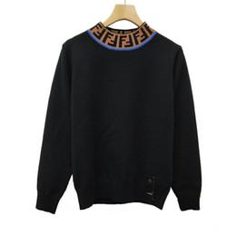 2019 free crochet ponchos Marken-Designer-Frauen-Strickjacke 2018 Herbst-Winter-Damen Pullover Brief Print High Neck Pullover Weibliche Luxus Pullover Langarm