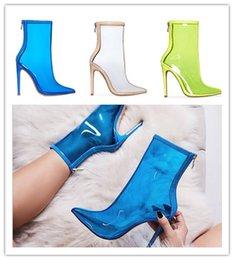 mulheres desnudas botas de salto alto Desconto Apontou salto fino de PVC botas transparente tornozelo para as mulheres de super salto alto zipper botas nuas sapatos Kardashian