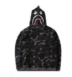 mens doppelter reißverschluss hoodie Rabatt Mens Female Sportwear Coat Jogger Trainingsanzug Fleece Sweatshirt Rundhals Vogel Schwarz Camouflage Hip Hop Doppelreißverschluss Hoodie Men Shark Mouth