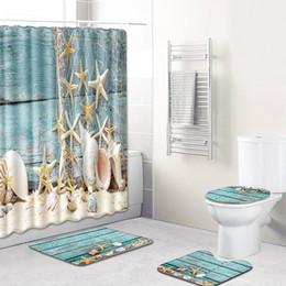 decoración de estrellas de mar Rebajas Mar Shell cortina de ducha de la playa de la concha de mar Impreso de Aseo Baño Bañera Cortinas Decoración