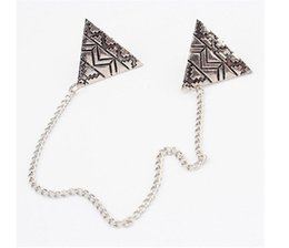 Argentina Nueva moda metal triangular punk collar geométrico chaqueta, collar Pin y broche whol esale en 2019 Pins, broches cheap necklace jackets Suministro