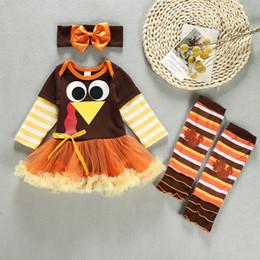 2019 langarm-kleider truthahn Neue Styles Thanksgiving Turkey Kleid Long-Ärmel Baumwolle Anzug dreiteilig für 0-2 Jährige Mädchen L375 rabatt langarm-kleider truthahn