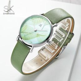 relojes mujer amarilla impermeable Rebajas SK Relojes Moda Mujer OTOÑO DE PRIMAVERA Relojes de pulsera de cuarzo Verde Amarillo Hojas Vestido Relojes Niñas a prueba de agua Horas Mujer