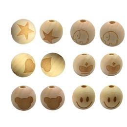 2019 caras de cuentas de madera 20mm Redondo Cara de la Estrella Estrella Corazón En Forma de Cuentas de Madera Sin Terminar 100 Unids Bebé Morder Collar de Madera Dentición Granos caras de cuentas de madera baratos