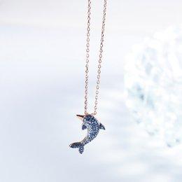 Strass rhinestone colar de pingente de golfinho on-line-Nova moda jóias para as Mulheres Acessórios de prata bonito Big Dolphin cristal pingentes Colar animal Full Of Rhinestone