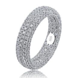 Лучшее качество 925 стерлингового серебра Кольцо Stamp Полный Iced Out Цирконий Мужские Женские обручальные кольца Шарм ювелирные изделия для подарков V191217 от