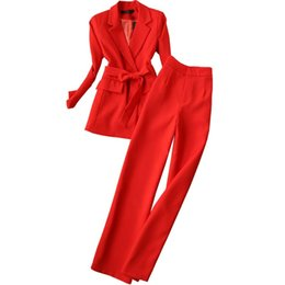 Красные дамские блейзеры онлайн-Office lady Professional work clothes pant suits women's red suit Sets female fashion slim suit Blazers & Straight Pants two set
