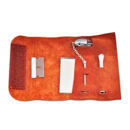 Bolsas de espejos online-Bolsa de tabaco portátil de cuero genuino de gamuza con la herramienta Snorter Snorter Caja de medicina Cuchara Espejo Cuchilla