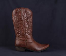 261dce07f Botas de vaquero clásicas occidentales para las mujeres Punta puntiaguda de  cuero Vaquera Tacones cuadrados Zapatos Mujer Rodilla Botas altas