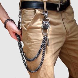 2019 anelli gotici neri di mens Mens Vita KeyChains Black Metal Vintage Leather Hip-Hop gotica punk pantaloni catena Pantaloni jeans raccoglitore chiave Forniture fase anello