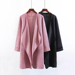 Langer cuffed pullover online-Bedeckte einfarbige Damenmäntel, gefesselt mit 9-Punkt-Ärmeln, Strickjacke, langer Pullover