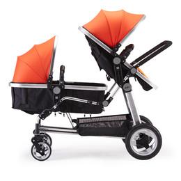 автомобиль оранжевый цвет Скидка 2019 Европа роскошная кожаная двойняшка коляска многофункциональный складной высокий пейзаж дракон и феникс марка близнецы детская коляска