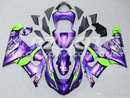 Kits de carenagem zx6r 636 on-line-Hot completa New ABS kit moto carenagem Para Kawasaki Ninja 636 ZX6R 2005 2006 roxo motocicleta carenagem costume corpo