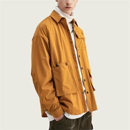 camicie marrone casual Sconti 2019 Hip Hop Street Style Fashion del progettista di marca delle donne degli uomini Maglie a manica lunga casuale solido monopetto Marrone Viola B101696V