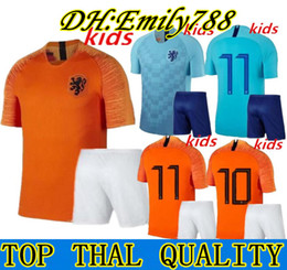 Футбол нидерланды футбол джерси прочь онлайн-New Netherlands Home Robben Kids Футбол Джерси 18 19 Holland Away Child # 9 V.PERSIE Голландские футбольные майки Nederland Football Jersey Kids Kit