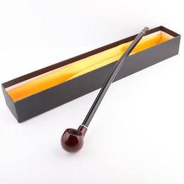 Lange rohrstiele online-Neue Ankunft Holz Tabakpfeife mit Acryl Mundstück lange gebogene Stiel 3mmfilte Geschenkboxen