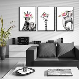 2019 arte moderna do girafa da arte da lona Girafa animal bonito e cópia da zebra Poster Art Elephant lona pintura retrato Início Wall Art Corredor Pintura Decoração moderna arte moderna do girafa da arte da lona barato