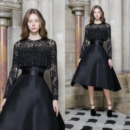 Casaco elegante vestidos de cocktail on-line-2019 preto vestidos de cocktail com jaqueta de renda a linha de duas peças vestidos de noite custom made manga comprida elegante vestido de baile desgaste