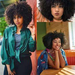2019 moda cabelo curto perucas Natural Preto afro cabelo encaracolado Perucas para Mulher Preto Curto Kinky 10 Cabelo Inch Moda bob perucas de cabelo humano moda cabelo curto perucas barato