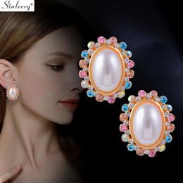 2020 ovale perla di perle Gioielli SINLEERY Chic Bianco ovale Orecchini perla colore giallo oro multicolore Zirconia Matrimonio Orecchini per le donne ES578 SSH ovale perla di perle economici
