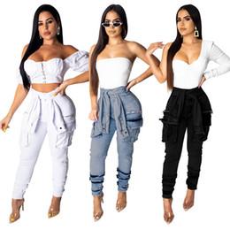 pantalon boutonné Promotion Vente chaude Femmes Jeans denim lavé couleur pure à lacets bouton voler bodycon leggings pantalons toute la longueur des jeans longs vêtements d'été, plus la taille 634