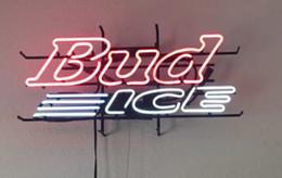 """Luce del tubo ghiacciato online-17 """"Bud Ice Real Glass Tube STORE APERTO BIRRA BAR CLUB PARETE DECOR LAMPADA SEGNALE LUMINOSO"""