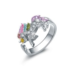 rainbow rings for women Coupons - Crystal Unicorn Ring For Women Gifts for Girls Rainbow Animal Prince Ring