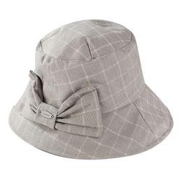 91365da0 Cute Plaid Bow Bucket Hat Summer Autumn Fashion Solid Color Caps Elegant  Women Folding Fishing Cap Casual Outdoor Fisherman Hats