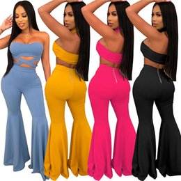 cropped blue leggings Coupons - Women strapless two piece set sexy bandage crop top bodycon flared pants designer summer clothing solid color leggings suit clubwear 1219