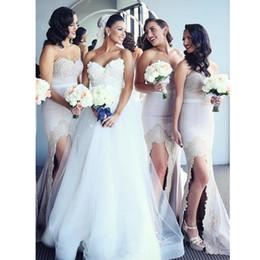 Argentina Vestidos de dama de honor de sirena de encaje rosa bastante desnuda 2019 Split vestidos largos formales atractivos para el banquete de boda Honor del vestido de mucama Suministro
