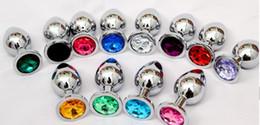 Butt Plug anal de acero inoxidable, Joyas de cristal Juguetes sexuales anales, Consolador de metal Tapones de estimulación Ano, Masajeador de próstata 85 * 32 mm Multicolores desde fabricantes