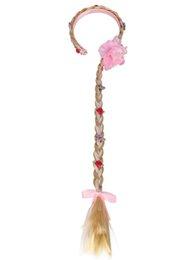 2019 ruban rose faveurs Longue tresse dorée ruban rose fleur bandeaux perruque de Noël bandeau enfants filles costume fantaisie robe Cosplay Custome Props ruban rose faveurs pas cher