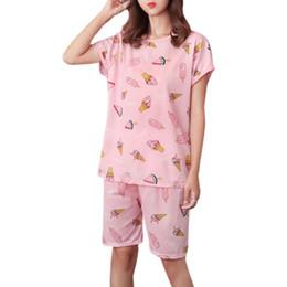 Caricaturas de helado de verano online-Las mujeres de verano de fibra de leche pijamas conjunto manga corta Tops Cartoon Ice Cream Animal Rainbow rayas pantalones cortos impresos ropa de dormir suelta