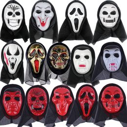 Mascarilla facial de miedo online-cráneo máscara de Halloween máscaras parciales Esqueleto gritando accesorios de mueca Máscara de mascarada cara completa para hombres mujeres máscara de miedoT2I5349