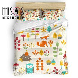 Комплект осеннего пододеяльника онлайн-MISSHOUSE Autumn Cute Kids Hedgehog  Duvet Cover Set Cartoon Animal Bed Sheets Comforter Cover Pillowcases 4pcs Bedding Sets