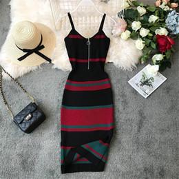 2019 vestidos de punto de algodón verano Nueva moda 2019 Slim Summer Striped Print Knitted Cotton Sheath Midi Dress Mujeres Spaghetti Strap Casual Party Bodycon Vestidos rebajas vestidos de punto de algodón verano