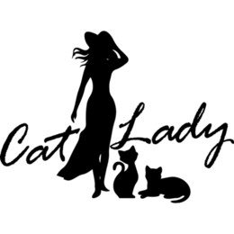 decalques do carro da senhora Desconto 13.5 * 10cm Decor Classy Moda Gatos do amante animais Lady Cat Decal Car Beleza Tentação corpo adesivos de carro decalques