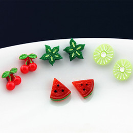 Orecchini di anguria online-Lotto 12 Paia Orecchini belli da frutta Anguria Bambini Magnete Orecchini magnetici per bambine Regali di Natale ME90-2